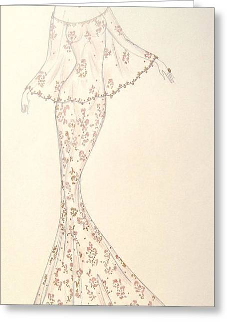 Vines Pastels Greeting Cards - Gossamer Rose Gown Greeting Card by Christine Corretti
