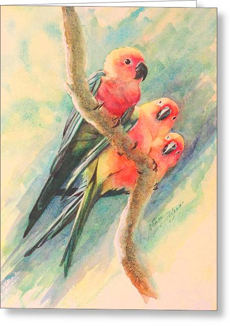 Chatty Greeting Cards - Gossiping Conures Greeting Card by Nancy Delgado