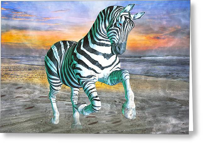 Ocean Shore Mixed Media Greeting Cards - Got My Stripes Greeting Card by Betsy C  Knapp