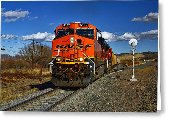 Freight Train Greeting Cards - Got the Green Light Greeting Card by Ken Smith