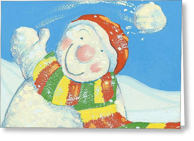 Snowman Christmas Card Greeting Cards - Gotcha Greeting Card by David Cooke