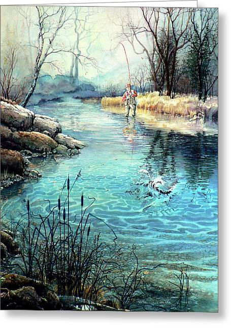 Fishing Art Print Greeting Cards - Gotcha Greeting Card by Hanne Lore Koehler