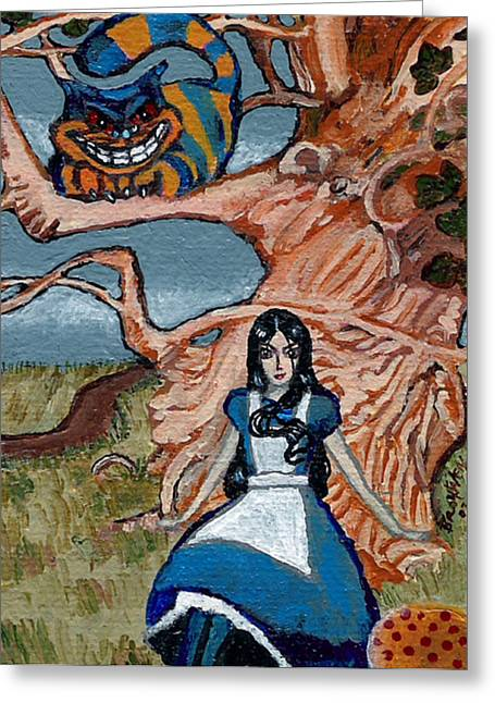Hallucination Greeting Cards - Goth Alice and the Cheshire Cat Greeting Card by Bronwen Skye