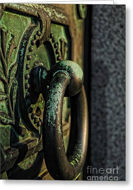 Hardware Greeting Cards - GOTH - Crypt Door Knocker Greeting Card by Paul Ward