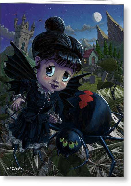 Creepy Digital Art Greeting Cards - Goth girl fairy with spider widow Greeting Card by Martin Davey
