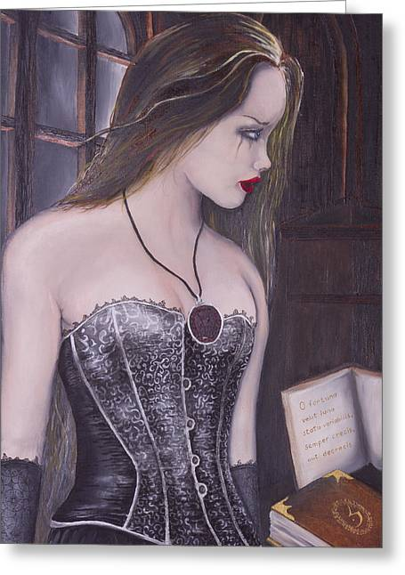 Corsette Greeting Cards - Goth girl Greeting Card by Manfred Prinsloo