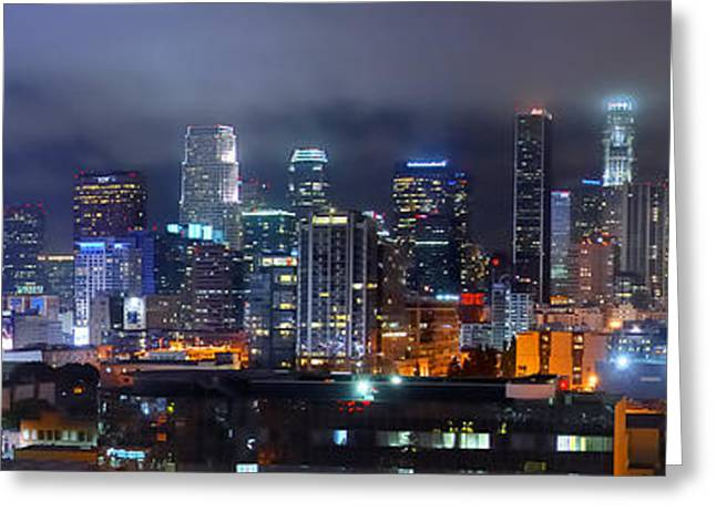 Gotham City Greeting Cards - Gotham City - Los Angeles Skyline Downtown at Night Greeting Card by Jon Holiday