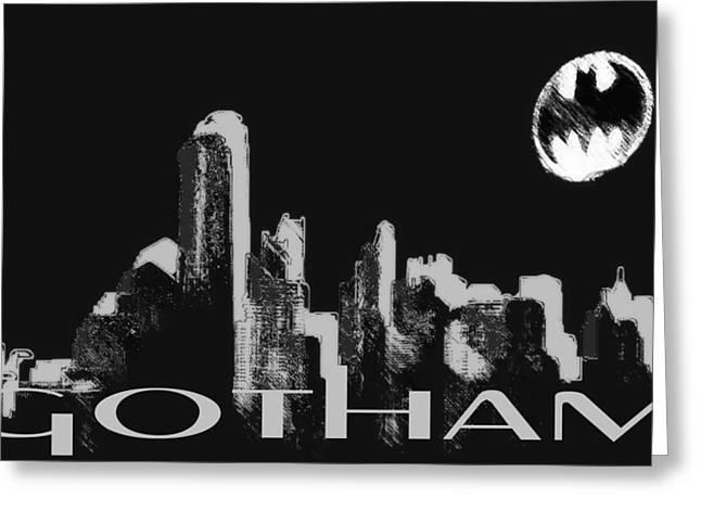 Gotham City Mixed Media Greeting Cards - Gotham Greeting Card by Lisa McKinney