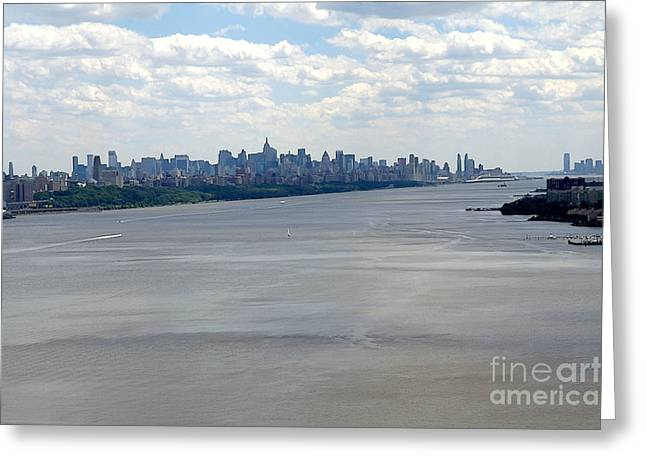 Gotham on the Hudson Greeting Card by David Bearden