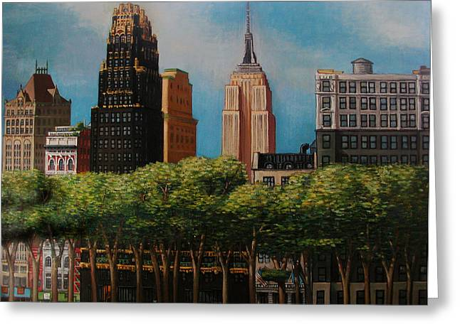 Bryant Paintings Greeting Cards - Gotham Park Greeting Card by Michael Koch