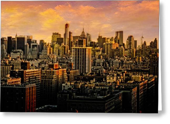 Gotham Sunset Greeting Card by Chris Lord