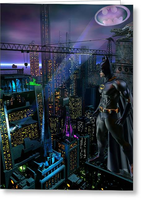 Gotham City Greeting Cards - Gothams Guardian Greeting Card by Joseph Soiza