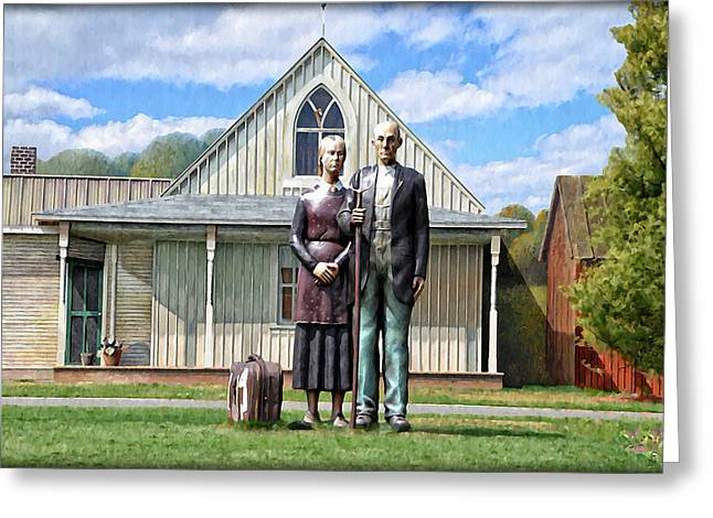 Grant Wood Greeting Cards - Gothic American  Greeting Card by Bill Cannon