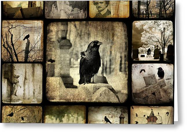 Edgar Allan Poe Greeting Cards - Gothic and Crows Greeting Card by Gothicolors Donna Snyder