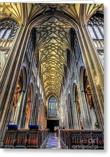 Vaulted Ceilings Greeting Cards - Gothic Architecture Greeting Card by Adrian Evans