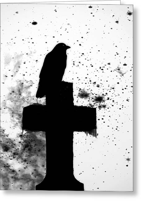 Gothic Crows Greeting Cards - Gothic Black And White Greeting Card by Gothicolors Donna Snyder