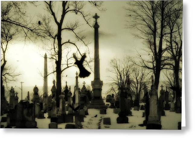 Birds In Graveyard Greeting Cards - Gothic Bliss Greeting Card by Gothicolors Donna Snyder