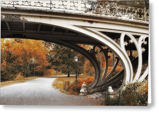 Gothic Digital Greeting Cards - Gothic Bridge in Autumn Greeting Card by Jessica Jenney