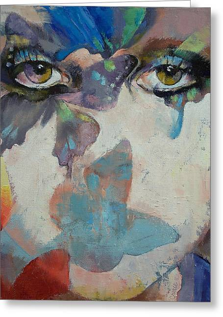 Eyes Paintings Greeting Cards - Gothic Butterflies Greeting Card by Michael Creese