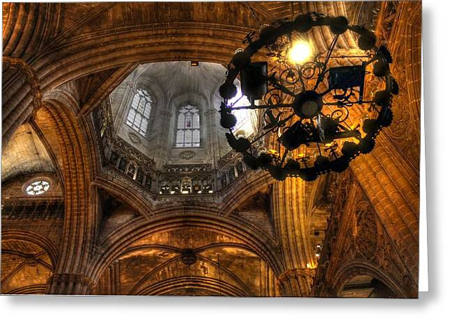 Gothic Cathedral Barcelona Greeting Card by Jane Linders