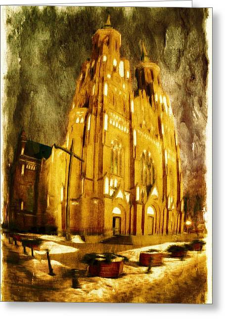Winter Travel Greeting Cards - Gothic cathedral Greeting Card by Jaroslaw Grudzinski