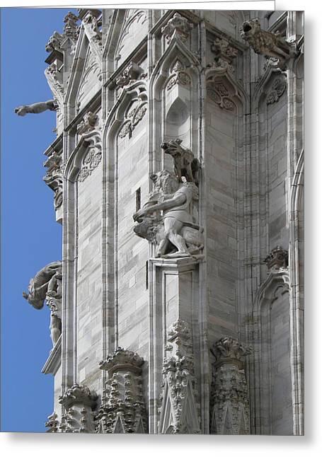 Lion Gargoyle Greeting Cards - Gothic Cathedral Lion Statue And Gargoyles Greeting Card by Leone M Jennarelli