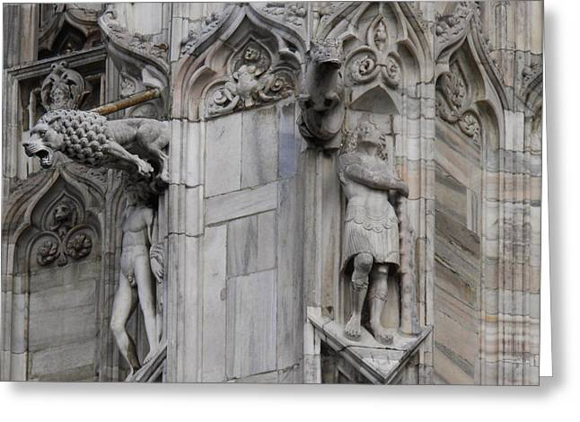 Milan Gothic Cathedral Statues And Lion Gargoyle Greeting Card by Leone M Jennarelli