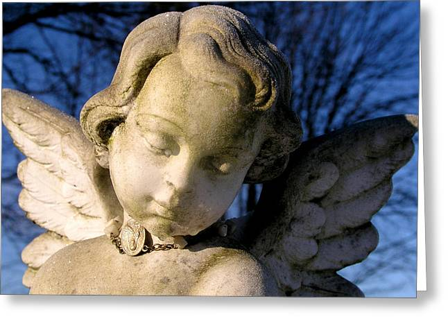 Seraphim Angel Photographs Greeting Cards - Gothic Cherub Statue Greeting Card by Glenn McGloughlin