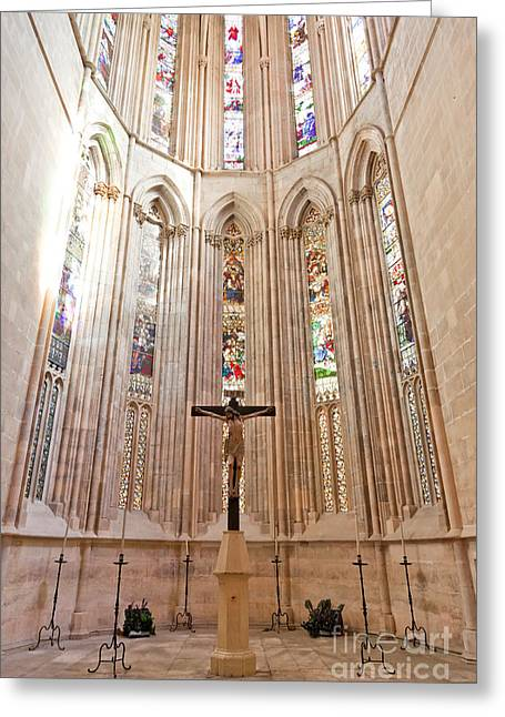 Gothic Crucifix Greeting Cards - Gothic Church Apse with Stained Glass Greeting Card by Jose Elias - Sofia Pereira