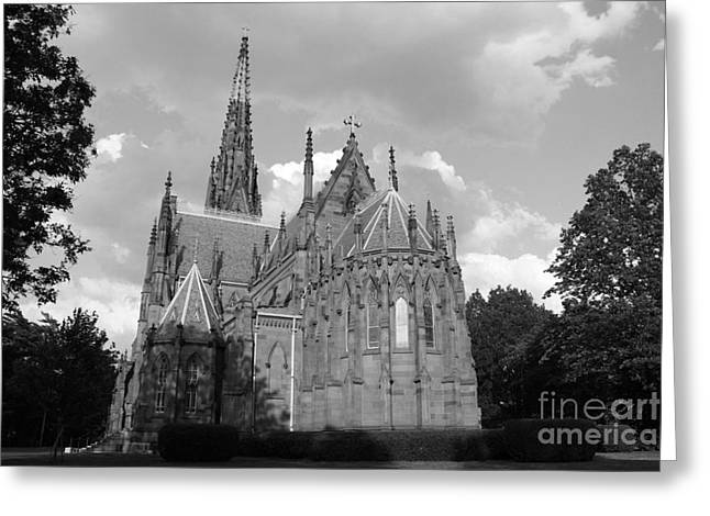 Historic Site Greeting Cards - Gothic Church In Black and White Greeting Card by John Telfer