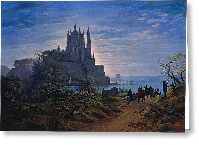 Karl Friedrich Schinkel Greeting Cards - Gothic Church on a Rock by the Sea Greeting Card by Karl Friedrich Schinkel