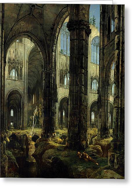Religious Artwork Paintings Greeting Cards - Gothic Church Ruins Greeting Card by Carl Blechen