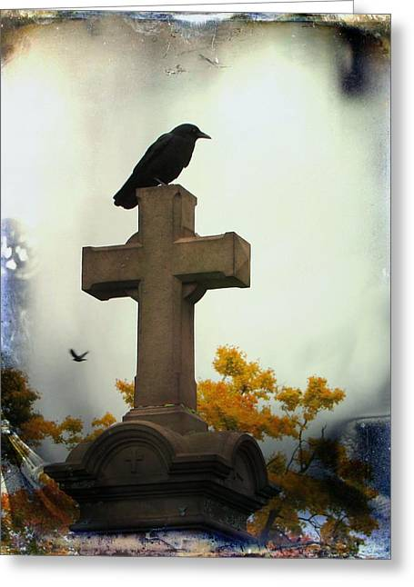 Gothic Cross Greeting Cards - Gothic Corvidae Greeting Card by Gothicolors Donna Snyder