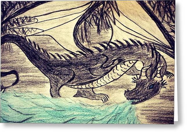Fog Mist Drawings Greeting Cards - Gothic Dragon Greeting Card by Andrew Moreno