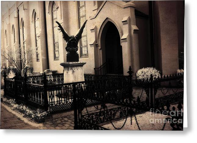 Churchyard Greeting Cards - Gothic Surreal Church Gargoyle - Surreal Guardian Gargoyle Haunting Spooky Architecture Black Gates Greeting Card by Kathy Fornal
