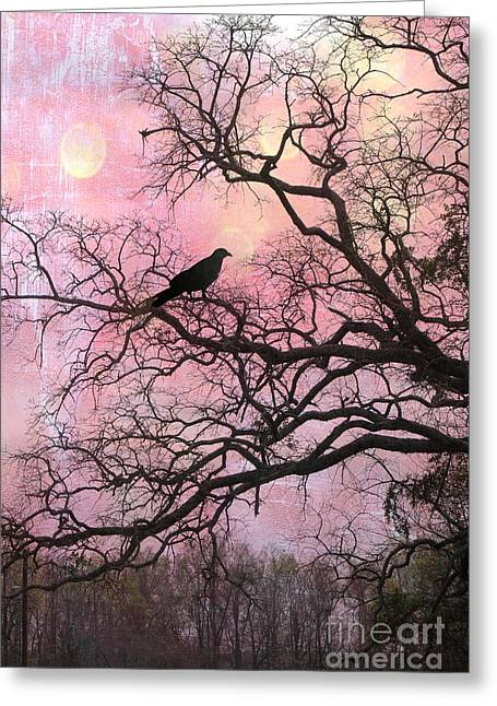 Canvas Crows Greeting Cards - Gothic Fantasy Surreal Nature - Haunting Pink Trees Limbs With Haunting Spooky Raven Greeting Card by Kathy Fornal