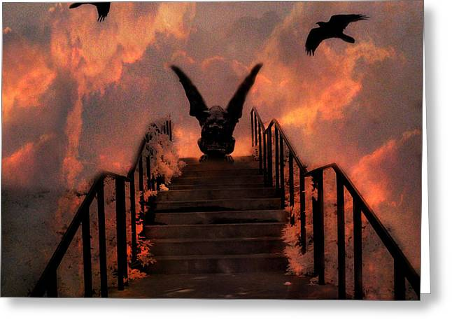 Gothic Gargoyle On Staircase Into Clouds With Flying Ravens - Surreal Gothic Gargoyle And Ravens Greeting Card by Kathy Fornal