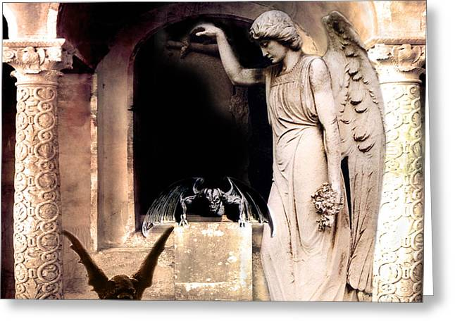 Surreal Photography Greeting Cards - Gothic Gargoyles Angels Fantasy Dark Spooky Halloween Art  Greeting Card by Kathy Fornal