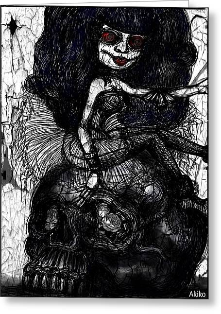 Analog Mixed Media Greeting Cards - Gothic Girl and Skull Greeting Card by Akiko Kobayashi