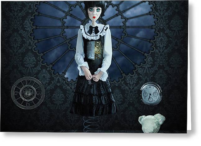 Clock Photographs Greeting Cards - Gothic Girl Greeting Card by Juli Scalzi