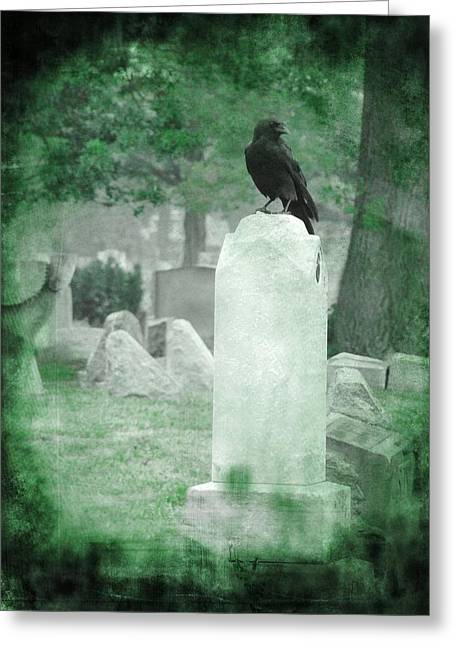 Ravens In Graveyard Greeting Cards - Gothic Green Greeting Card by Gothicolors Donna Snyder