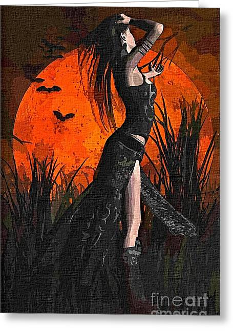 Harvest Moon Mixed Media Greeting Cards - Gothic Harvest Moon Greeting Card by Dori Marie Art By Design