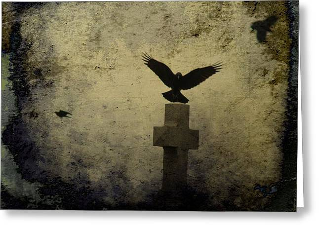 Gothic Crows Greeting Cards - Gothic Landing Greeting Card by Gothicolors Donna Snyder