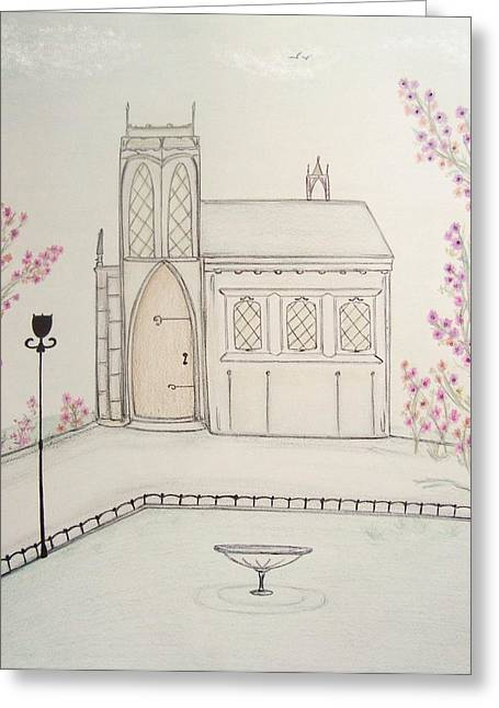 Lamp Post Mixed Media Greeting Cards - Gothic Library in Spring Greeting Card by Christine Corretti