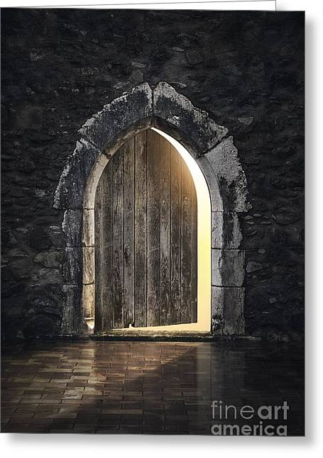 Medieval Entrance Photographs Greeting Cards - Gothic Light Greeting Card by Carlos Caetano