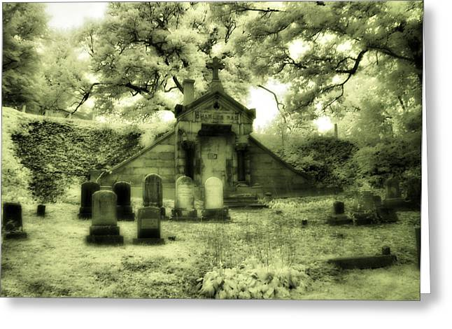 Gothic Mausoleum Greeting Card by Gothicolors Donna Snyder