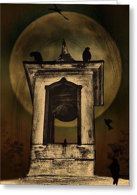 Cupola Digital Art Greeting Cards - Gothic Moon and Bell Tower Greeting Card by Bill Cannon