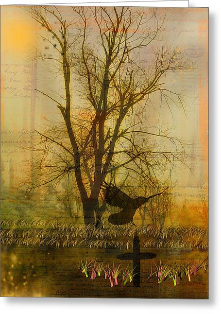 Crow Collage Greeting Cards - Gothic Nature Collage Greeting Card by Gothicolors Donna Snyder
