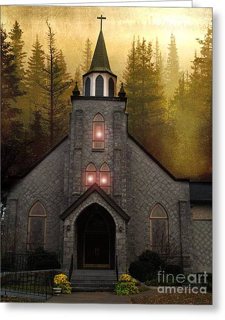 Lexington South Carolina Greeting Cards - Gothic Old Church Autumn Forest Woodlands Greeting Card by Kathy Fornal