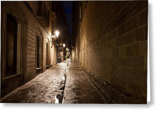Old Home Place Greeting Cards - Gothic Quarter of Barcelona Greeting Card by Artur Bogacki